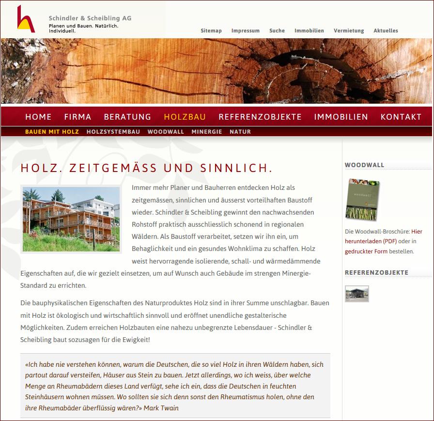 Spezialist für Bauen mit Holz, Minergie Standard - Holz Systembau: Schindlerscheibling.ch