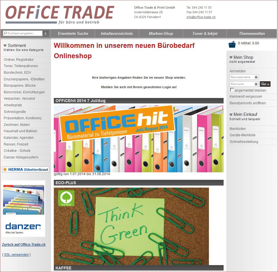 Onlineshop für Bürobedarf von Office Trade